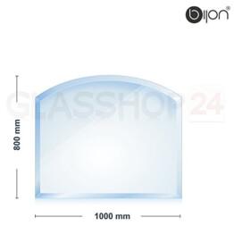 bijon® - 8mm Kamin Glasbodenplatte - Segmentbogen 800x1000x8mm -18mm Facette - 1