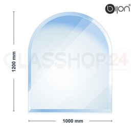 Kaminglasplatte Rundbogen 1000x1200x6mm - 18mm Facette / Kostenloser Versand / Glasbodenplatte / Kaminofenplatte - 1