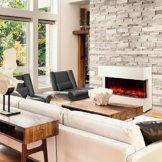 Klarstein Studio-1 Elektrischer Kamin Heizlüfter Elektrokamin Kaminofen (LED Flammensimulation, 750 und 1500 W Leistung, große Glasfront, Fernbedienung, bis 40m² Räume) weiß -