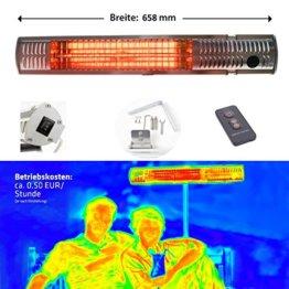 Gardigo Edelstahl Infrarotstrahler Heizstrahler, Infrarot Kurzwellen - wärmen gezielt Menschen und nicht die Umwelt, keine abtriftende Wärme, Wärmestrahler, Terrassenstrahler, 4-Stufen 650 - 2000 W -